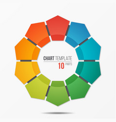 Polygonal circle chart infographic template with vector