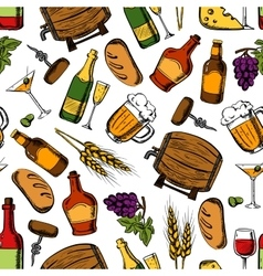 Pub whiskey drinks snacks seamless background vector image