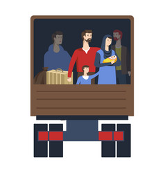 refugees in truck trunk illegal transportation vector image