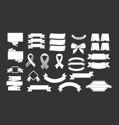 ribbon icon set grey vector image