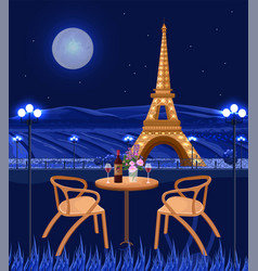 romantic cafe with eiffel tower view paris at vector image