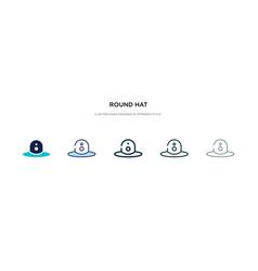 Round hat icon in different style two colored vector