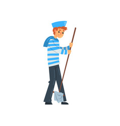 sailor standing with mop seaman character in vector image