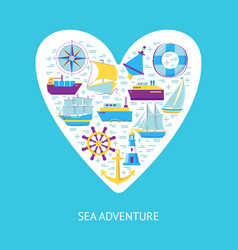 sea adventure concept banner with ship icons in vector image