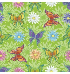 seamless pattern butterflies and flowers vector image