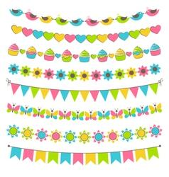 set multicolored flat buntings garlands flags vector image