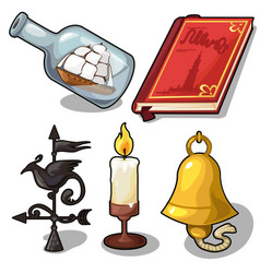 Set of book bell candle compass ship vector