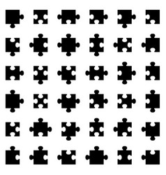 set of different puzzle pieces vector image