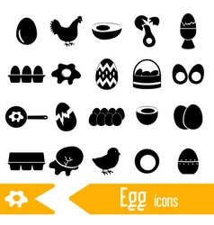 Set of egg theme black icons eps10 vector