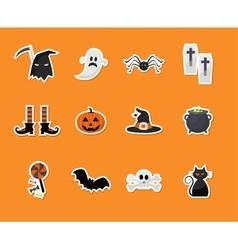 set of halloween sticker icons vector image