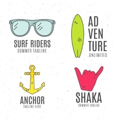 Set of minimalistic surfing logo concepts Summer vector image