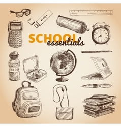 Set of school items vector