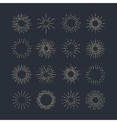 Set of Vintage Sunbursts in Different Shapes vector