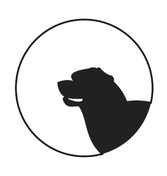Silhouette of a dog head rottweiler vector image