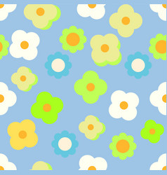 Simple daisy neon green and white pattern on sky vector