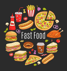 sketch fast food circular vector image