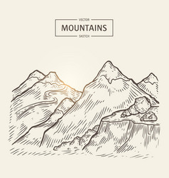 Sketch of mountains landscape highlands vector