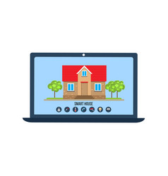 smart house app concept with laptop control vector image