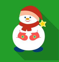 Snowman in christmas cap icon in flat style vector