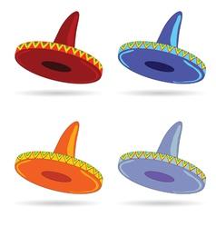 sombrero in four color art vector image
