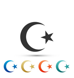 star and crescent - symbol of islam icon isolated vector image