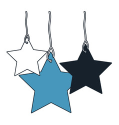 Stars set pendant of thread in color blue sections vector