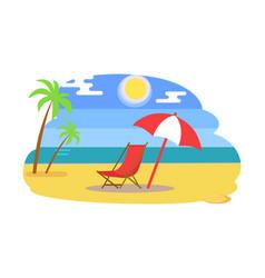 summer beach with recliner under umbrella near sea vector image