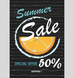 summer sale template banner with orange vector image