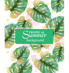 Summer tropic palm leaves exotic hot vector