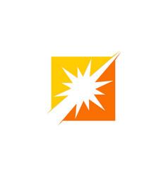 Sun shine spark square logo vector