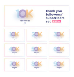 Thank you follower set with colorful background vector