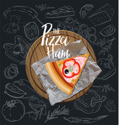 the pizza ham slice with background vector image