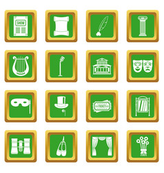 Theater icons set green vector