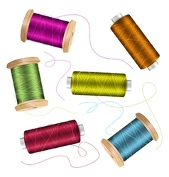 Thread spool set background for needlework and vector