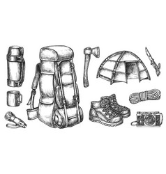 Travel accessory and touristic equipment sketch vector