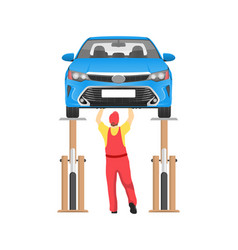 vehicle on inspection in auto service card vector image