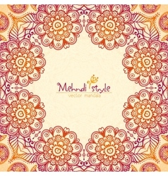 Vintage ethnic square floral frame in Indian vector image