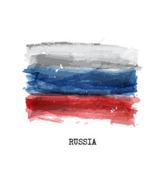 watercolor painting flag of russia vector image