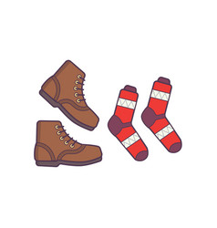 Winter or autumn shoes and sock isolated vector