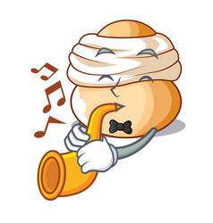 with trumpet semla swedish cream bun on cartoon vector image