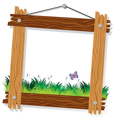 wooden frame template with green grass and vector image
