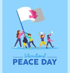World peace day card for diverse people teamwork vector