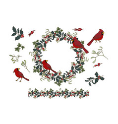 Wreath and holly and mistletoe and bird northern vector
