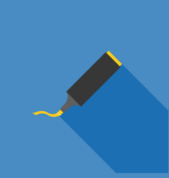 yellow highlighting pen icon with long shadow vector image