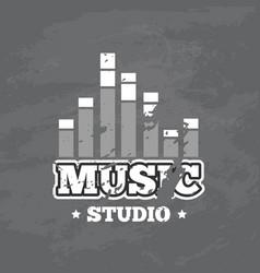 retro sound record studio logo badge vector image vector image