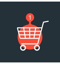 shopping cart with one purchase red sign vector image vector image