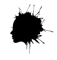woman face profile ink blot vector image vector image