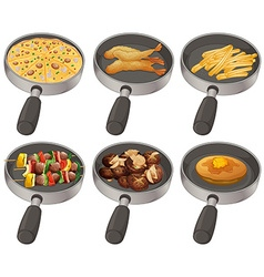Different food in the frying pan vector image