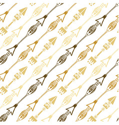 Seamless background of ethnic arrow in gold vector
