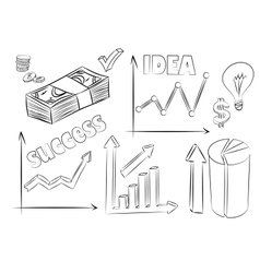 set of business sketches vector image vector image